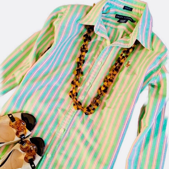 Striped Polo Ralph Green Multi Oxford Shirt Lauren Fc3ulKT1J